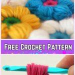 Crochet 6 Petal Puff Stitch Flower Blanket Free Pattern