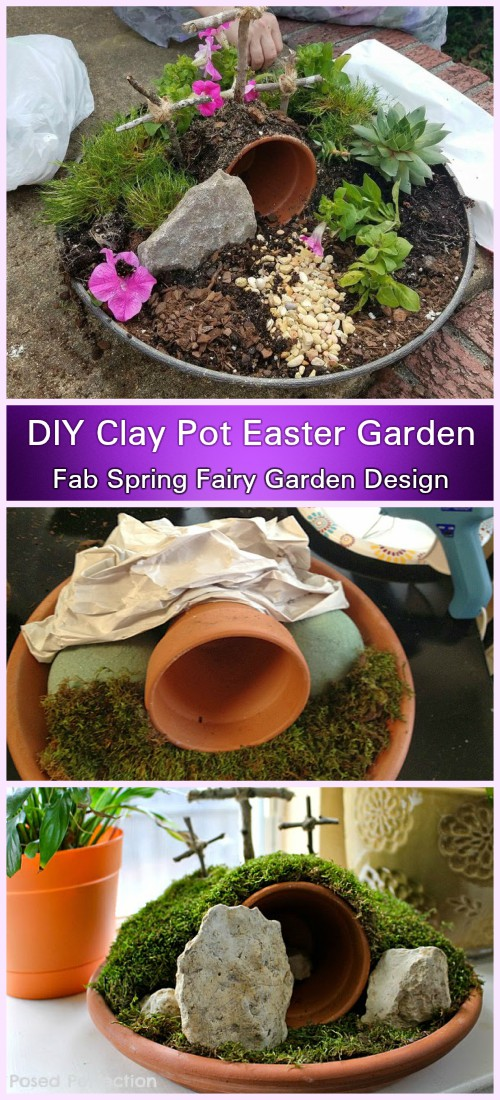 DIY Clay Pot Easter Garden Tutorial