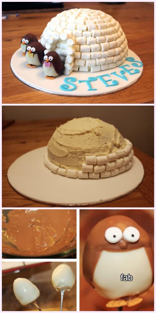 DIY Penguin Igloo Cake Recipe