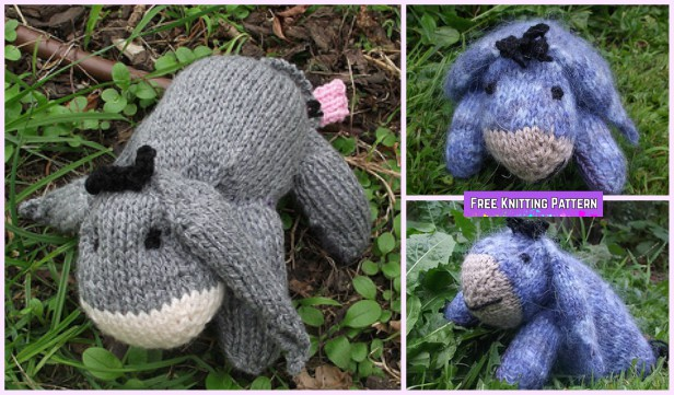 Knit Baby Eeyore Softies Animal Toy Free Knitting Pattern