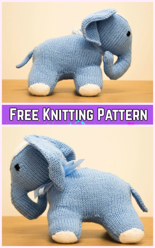 Knit Elephant Plush Toy Free Knitting Pattern