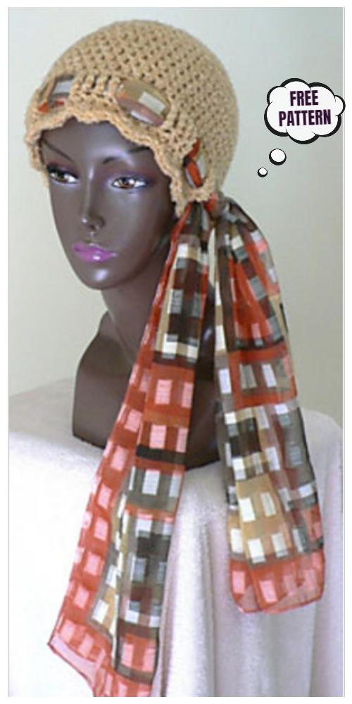 Crochet Chemo Tie Scarf Hat Cap Free Crochet Pattern