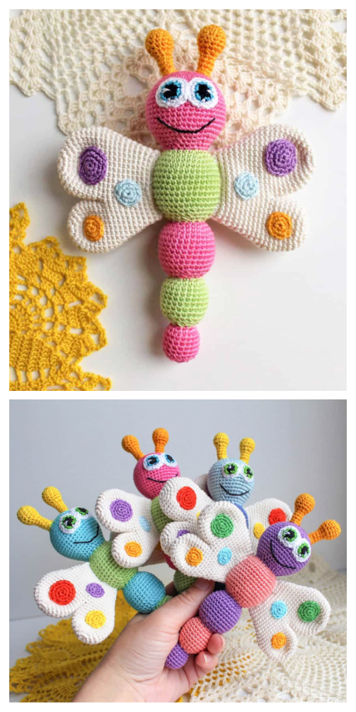 Crochet Butterfly Baby Rattle Amigurumi Free Patterns