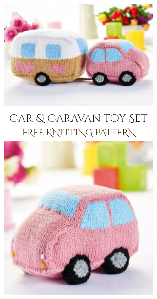 Knit Car Caravan Toy Set Free Knitting Pattern