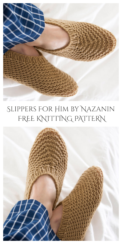 Knit Garter Stitch Slippers Free Knitting Patterns for Grown-Ups