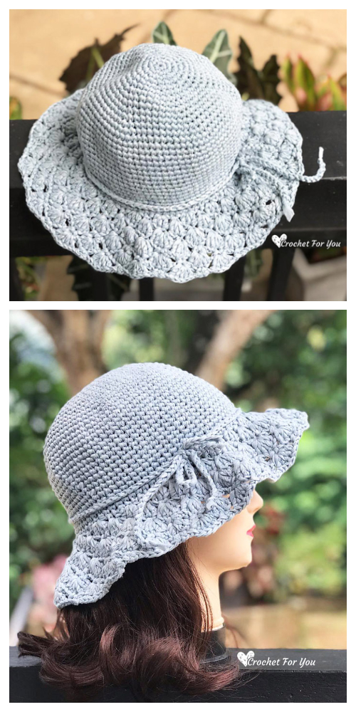 Floppy Shell Brim Sun Hat Free Crochet Pattern