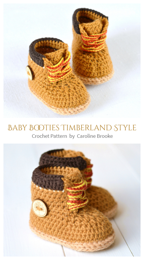 Baby Booties Timberland Style Crochet Patterns