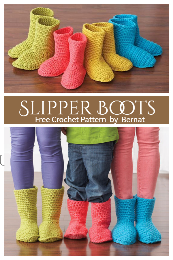 Colorful Slipper Boots Free Crochet Patterns