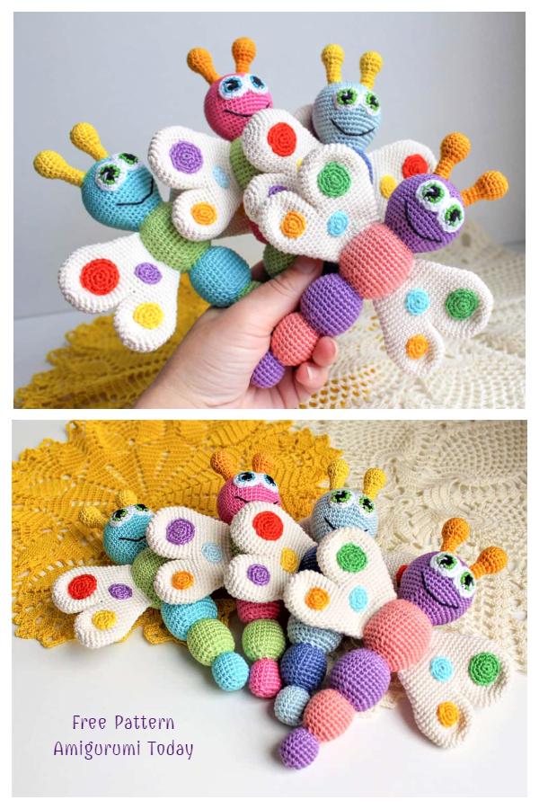 Crochet Butterfly Baby Rattle Amigurumi Free Patterns