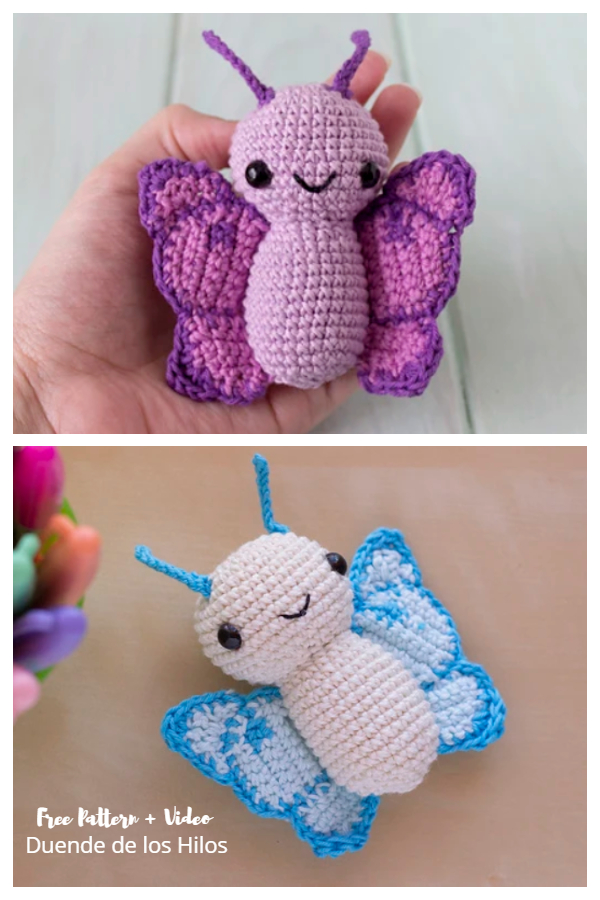 Crochet Butterfly Amigurumi Free Pattern + Video