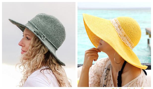Wide Brim Summer Sun Hat Free Crochet Patterns + Video