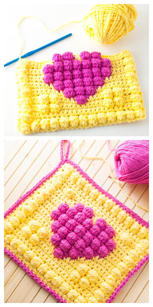 Bobble Heart Granny Square Free Crochet Patterns