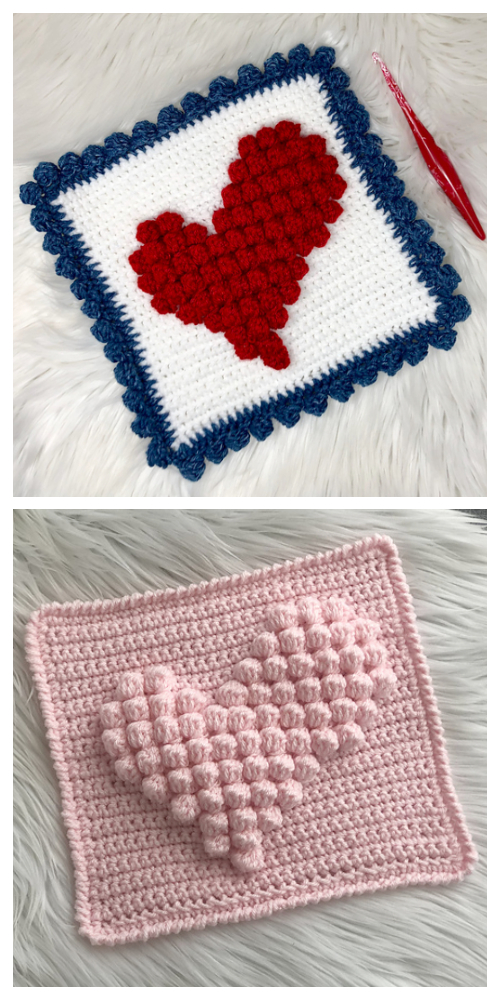 Wonky Bobble Heart Granny Square Free Crochet Patterns