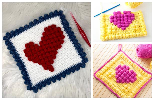 Bobble Heart Granny Square Free Crochet Patterns