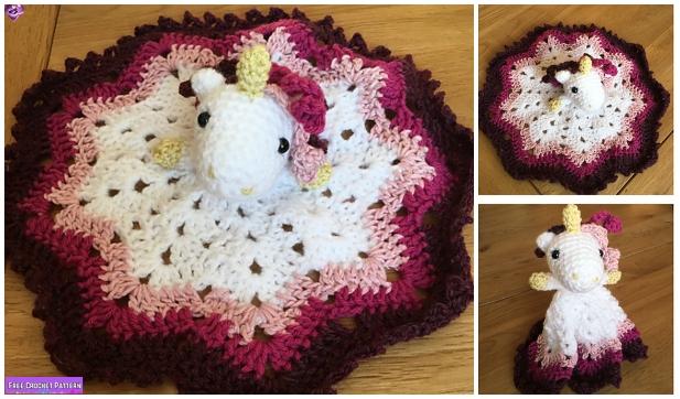 Crochet Unicorn Security Blanket Free Crochet Pattern & Paid