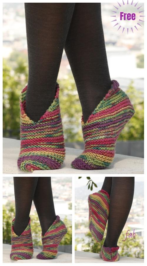 Easy Knit Garter Stitch Splash Slippers Free Knitting Pattern for Ladies