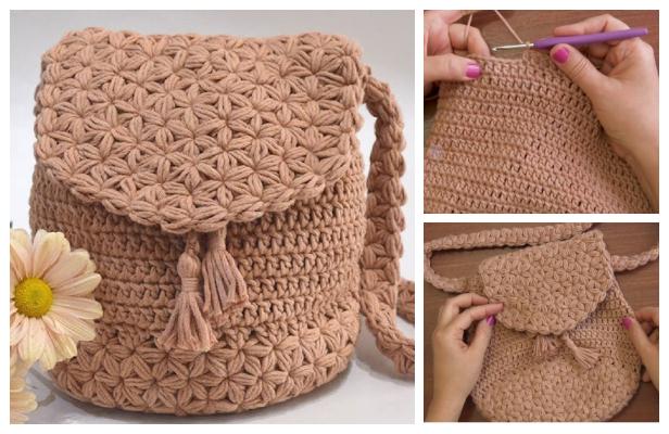 Jasmine Stitch Backpack Free Crochet Pattern + Video