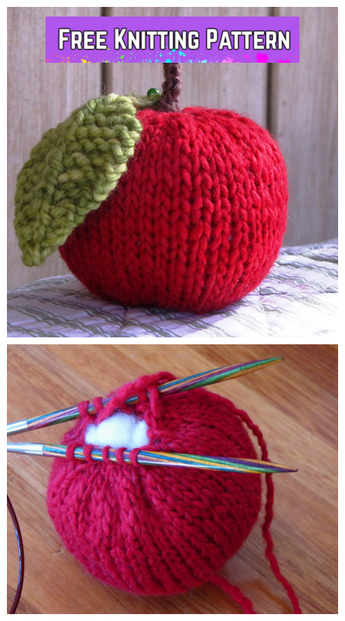 Knit Apple Plushie Free Knitting Pattern