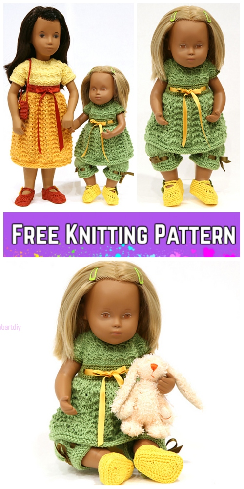 Knit Baby Sasha Doll Dress Pants Set Free Knitting Pattern