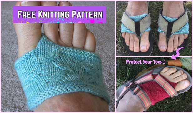 6c516494c83d57 Knit Flippant Thong Socks Free Knitting Pattern to Protect Your Toes This  Summer