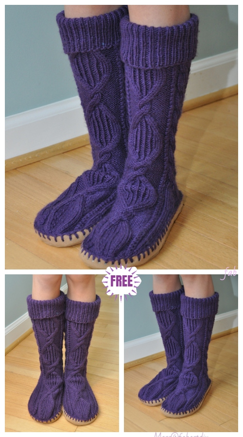 Knit Knee-high Cable Slipper Socks Free Knitting Pattern