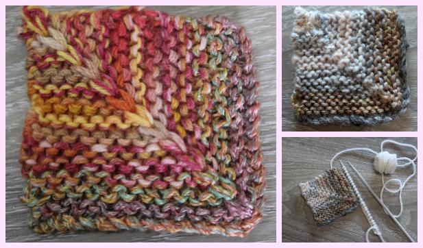 Knit Mitered Stripe Garter Square Free Knitting Pattern
