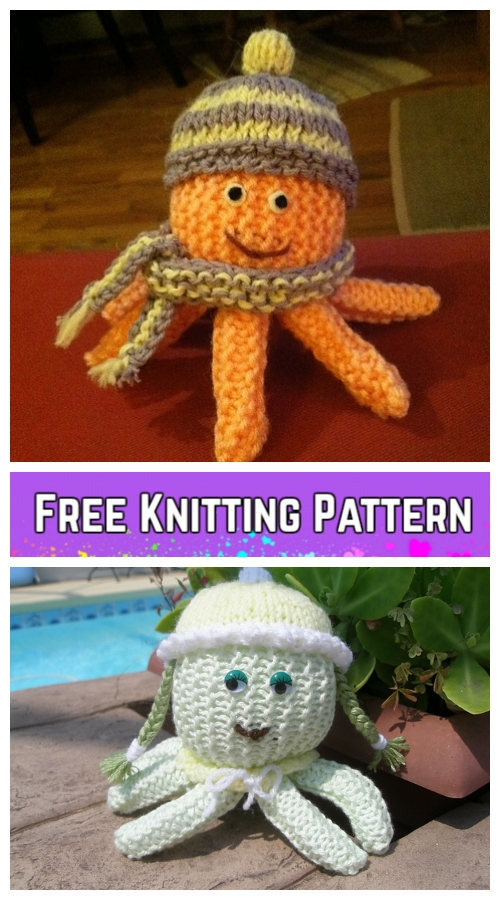 Knit Jolly Octopus Plush Toy Free Knitting Pattern