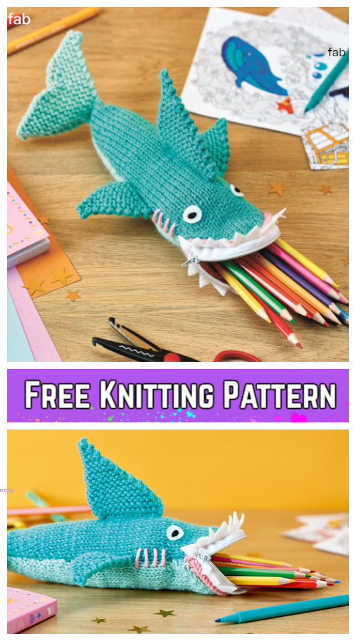 Knit Shark Pencil Case Free Knitting Pattern for Kids