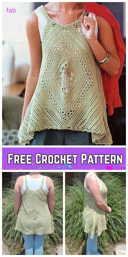 Crochet Lacy Swing Top Crochet Free Pattern for Ladies