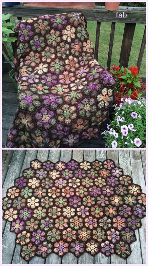Modern African Flower Blanket Crochet Pattern