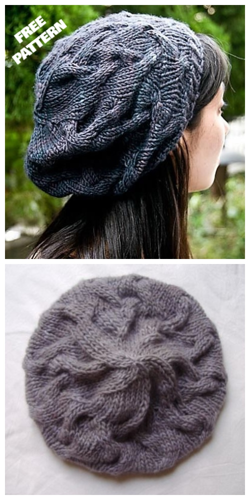 Knit Star Crossed Cable Slouchy Beret Hat Free Knitting Pattern