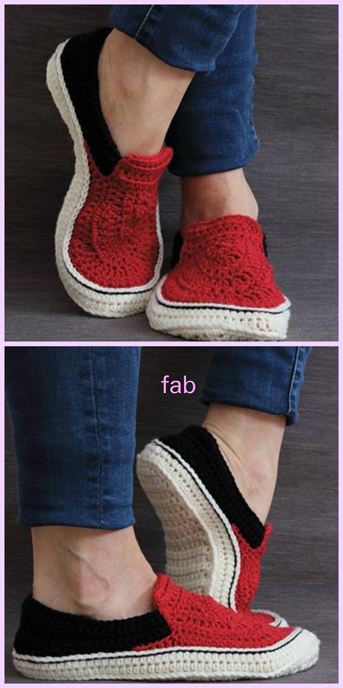 Unisex Vans Style Slippers Crochet Pattern