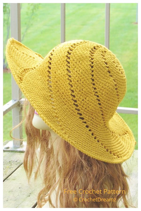 Simple Wide Brim Spiral Sun Hat Free Crochet Patterns