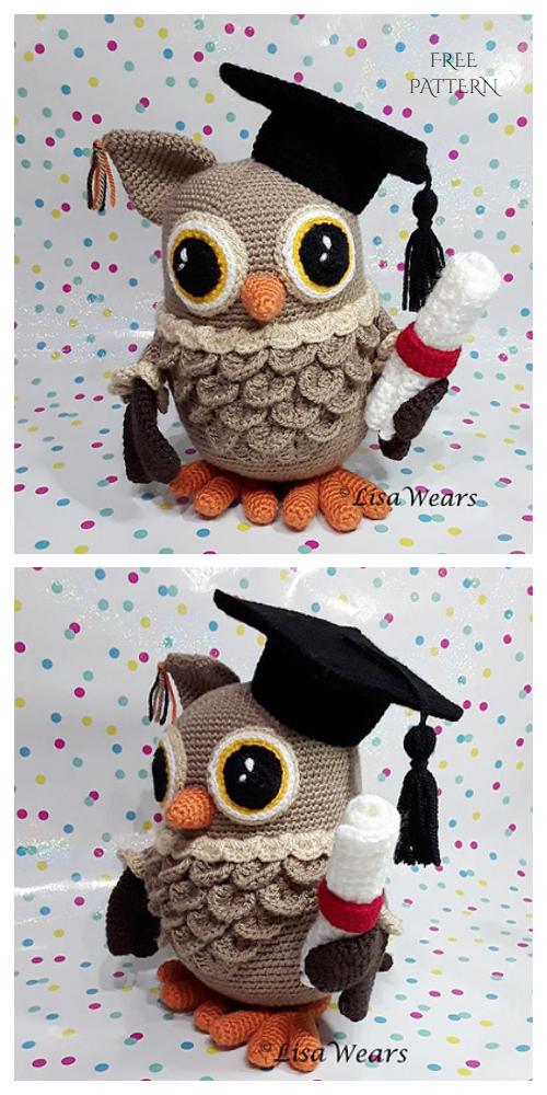 CrochetWisdomGraduation Owl Amigurumi Free Pattern