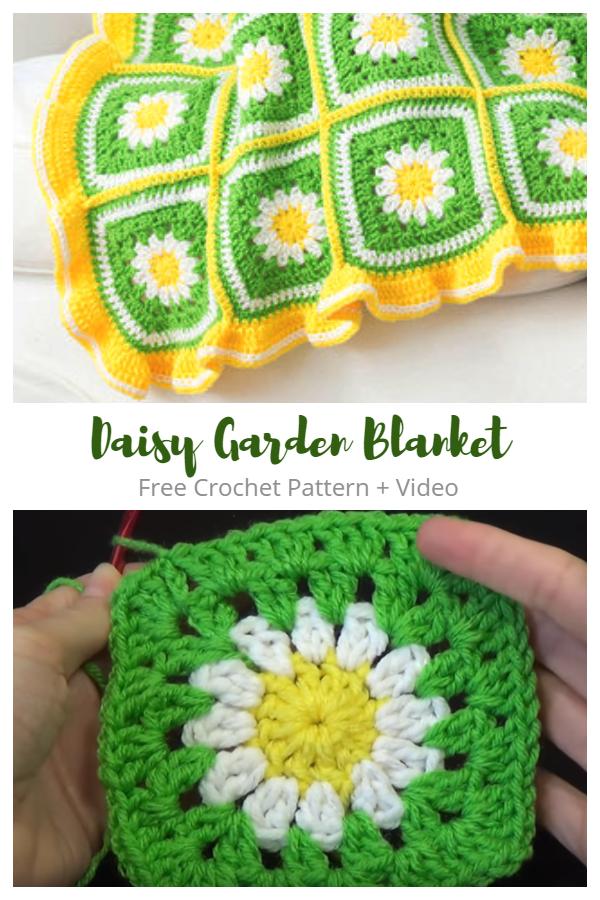 Crochet Daisy Flower Blanket Free Crochet Patterns + Video