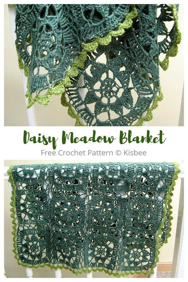 Daisy Meadow Blanket Free Crochet Patterns