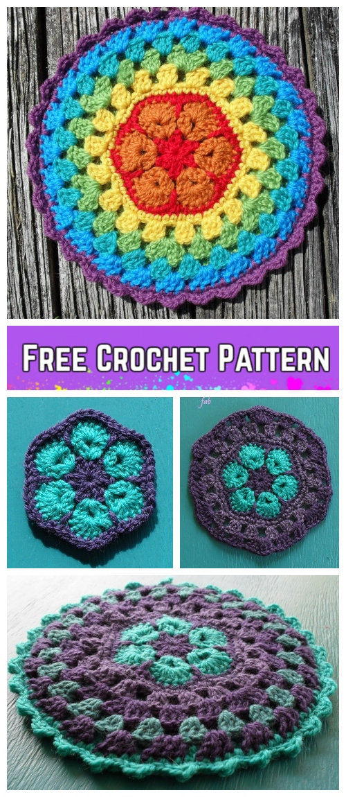 African Flower Mandala Pot Holder Crochet Free Pattern
