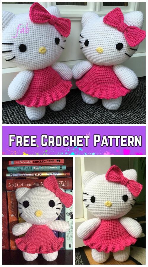 Crochet Big Hello Kitty Amigurumi Free Patterns - Toy Plush for Kids