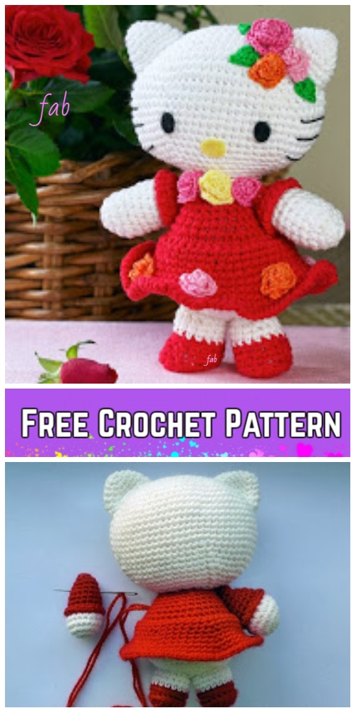 Crochet Hello Kitty In Dress Amigurumi Free Patterns - Toy Plush for Kids