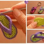 Flip Flop Keychain Crochet Free Patterns-Video Tutorial