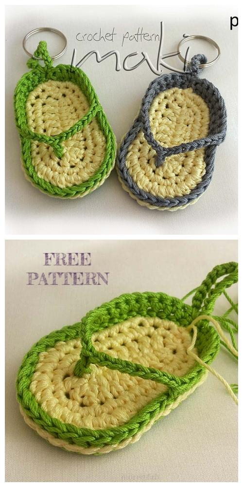Flip Flop Keychain Crochet Free Patterns + Video