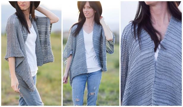 Knit Drop Stitch Kimono Cardigan Free Knitting Pattern