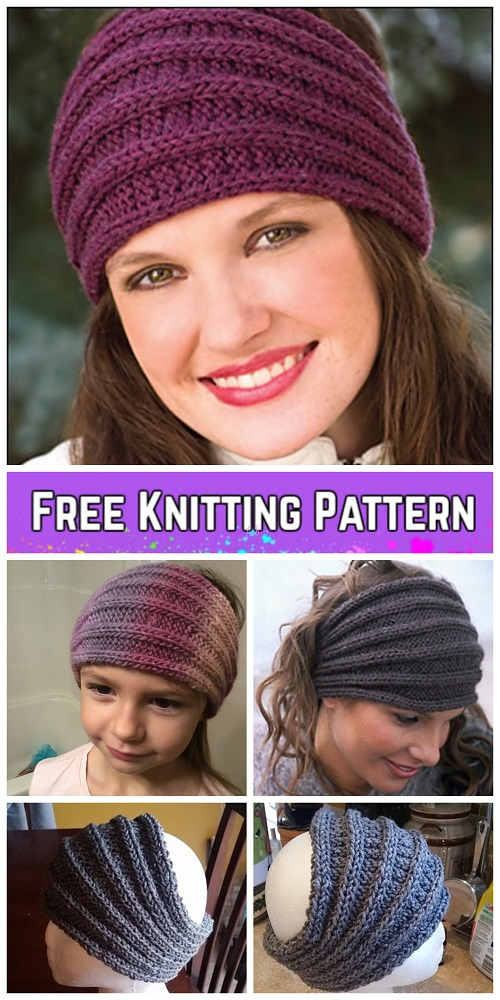 Knit Saturn Rings Ribbed Headband Free Knitting Pattern
