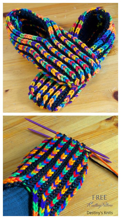 Knit Brioche Stitch Uberib Slippers Free Knitting Pattern