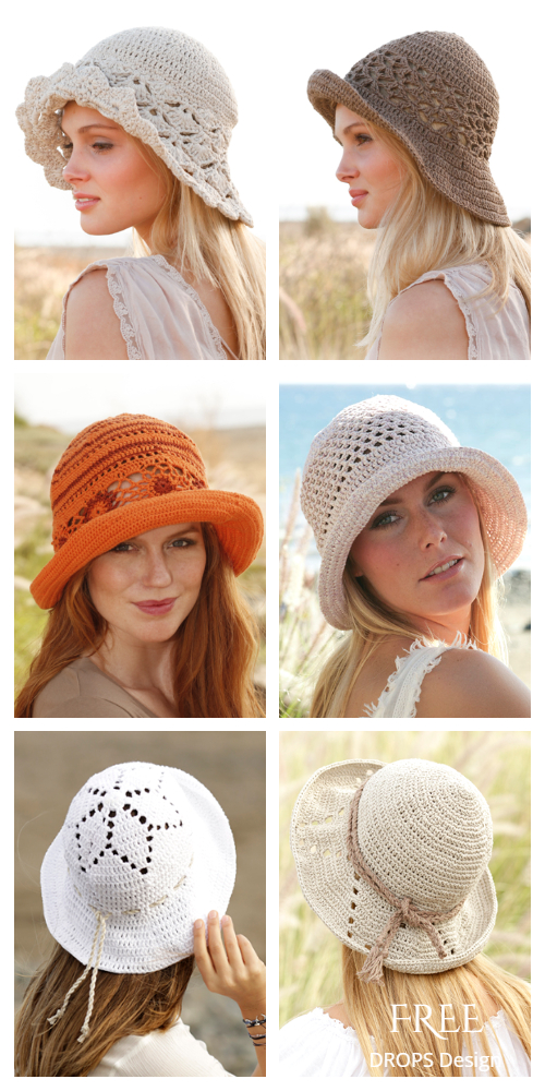Top Vintage Crochet Women Summer Sun Hat Free Crochet Patterns