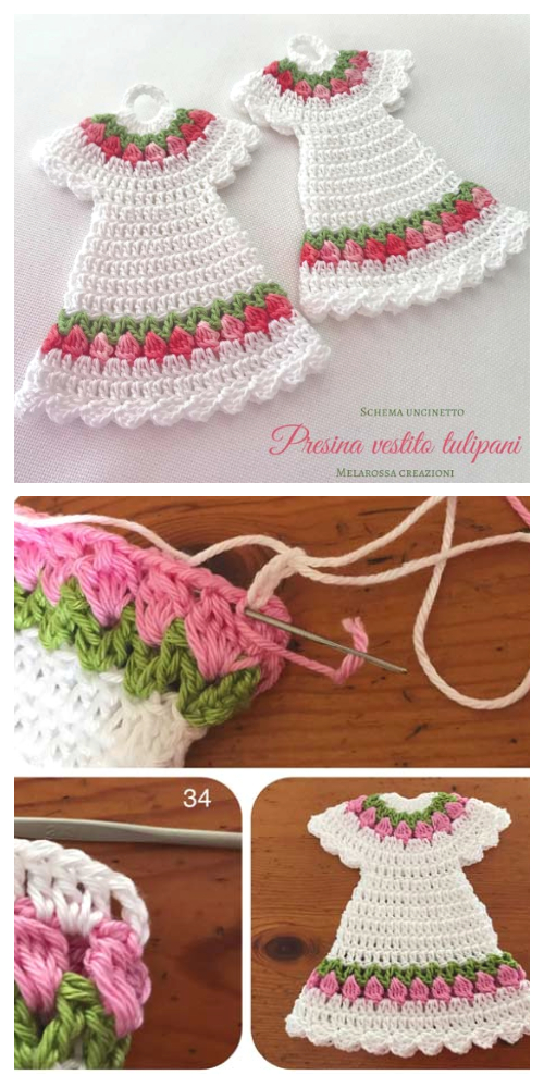 Vintage Tulip Dress Potholder Crochet Free Patterns