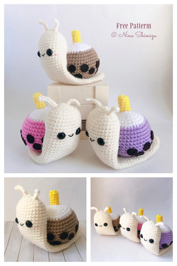 Crochet Banana Split Ice Cream Snail Amigurumi Free Pattern