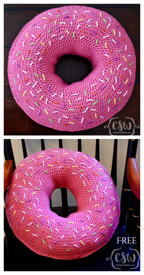 Giant Donut Pillow Free Crochet Pattern