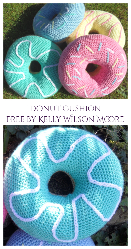Giant Donut Cushion Free Crochet Pattern