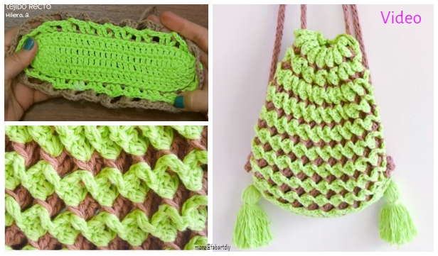 2 Colored Stretchy Reversible Backpack Free Crochet Pattern - Video Tutorial